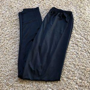 Pants - black capri leggings with elastic waist